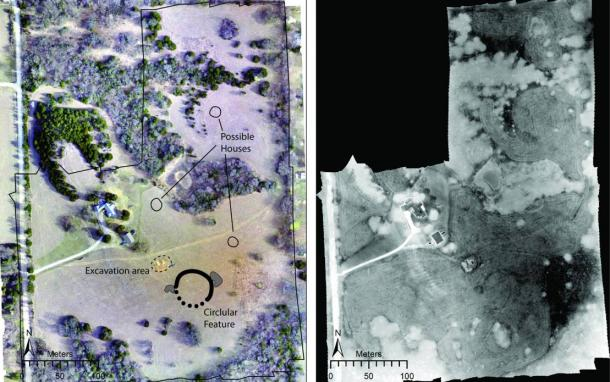 Left: Drone-acquired orthoimage of the site showing major features discussed in the paper. Right: Thermal images mosaic collected from 11:15 pm-12:15 am.