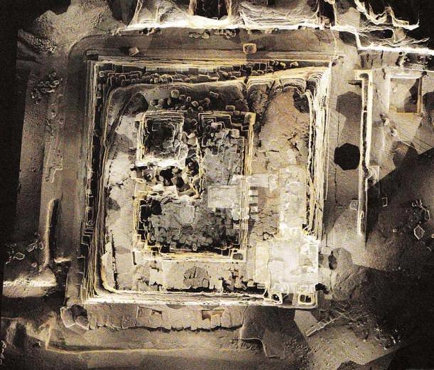 Una imagen de la Tumba de Khentkawes I en Giza, Egipto nube de puntos ortofotográfica (encuesta 3D).