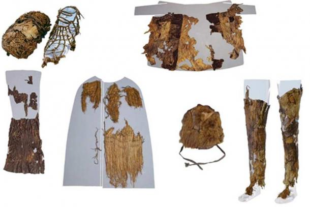 This photo of Ötzi's clothing, which included materials from five animal species, was taken by Niall O Sullivan of the Institute for Mummies and the Iceman. Otzi dates to about 5,300 years ago, while the snowshoe is even older at about 5,800 years, carbon dating has shown.