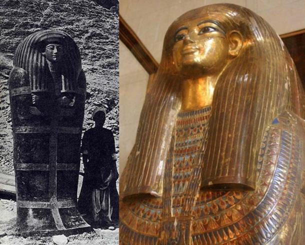 Yuya's large outer coffin as discovered in 1905 and the gold gilded third, innermost coffin of Tuya
