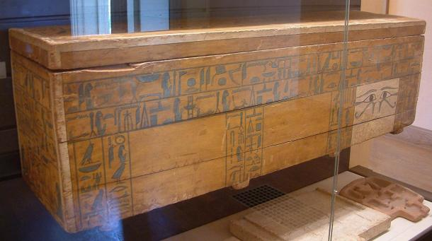 The outer sarcophagus of Chancellor Nakhti of the 12th Dynasty, around 1950 to 1900 BC, from Asyut.