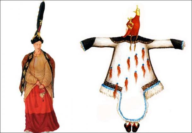 Reconstruction of Pazyryk woman's costume. Right, Pazyryk man's costume.