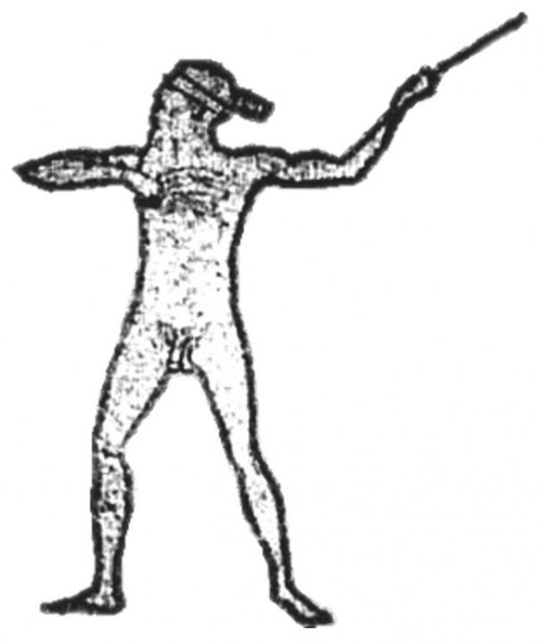 An illustration showing the outline of Marree Man by Lisa Thurston, 2005.