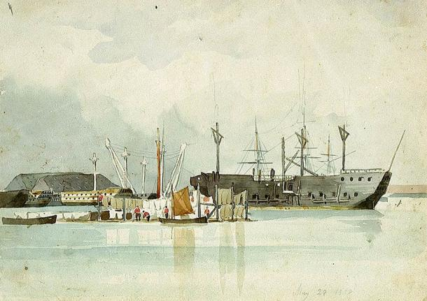 Due to the overcrowding of British prisons, overrun with convicts and prisoners of war, many vessels were refitted and converted into prison ships. Captain George Pechell Mends drew this depiction of a prison hulk anchored to Deadman's Island in 1838. (Public domain)