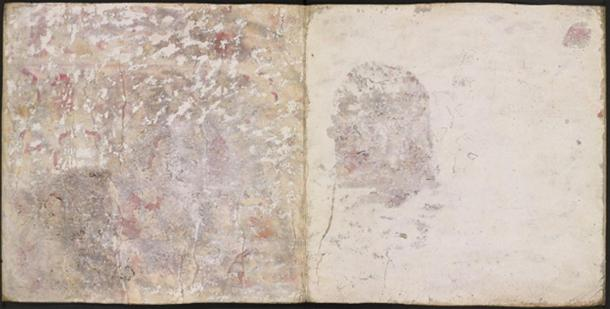 This image shows pages 11 and 10 verso of codex Añute with the areas that were physically uncovered during the 1950s investigation.