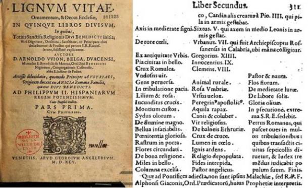 Front (Public Domain) and final (Public Domain) pages of the prophecies in Lignum Vitæ (1595).
