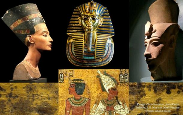 (From left) The painted bust of Queen Nefertiti (Berlin Museum/CC BY 2.0); Tutankhamun's golden mask (Cairo Museum/CC BY-SA 2.0); remnants of a colossal sculpture of Akhenaten discovered at Karnak (Luxor Museum); funerary scenes on the north wall of KV62 and (Background) fungoid spots on a wall in the tomb.