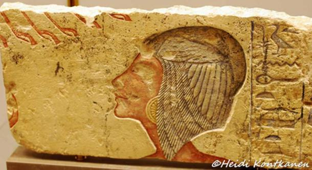 This painted limestone relief originally depicted Kiya, Akhenaten's 'Greatly Beloved Wife' but was later reworked to portray Meritaten his daughter. The splendid North Palace at Amarna was dedicated to this obscure wife. Ny Carlsberg Glyptotek, Copenhagen.