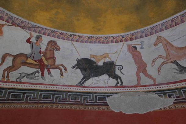 The brightly painted murals inside the Thracian tomb of Aleksandrovo, at Haskovo Province, South-Eastern Bulgaria. Representational image only.