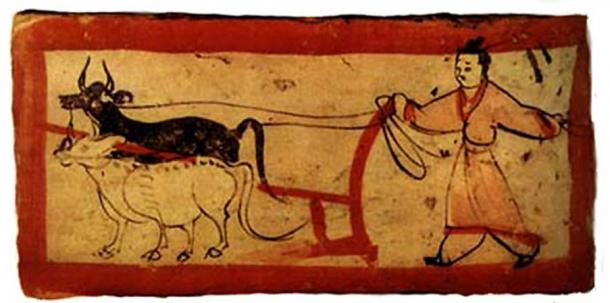 A painted tomb brick from the Western Jin Dynasty. (Public Domain)