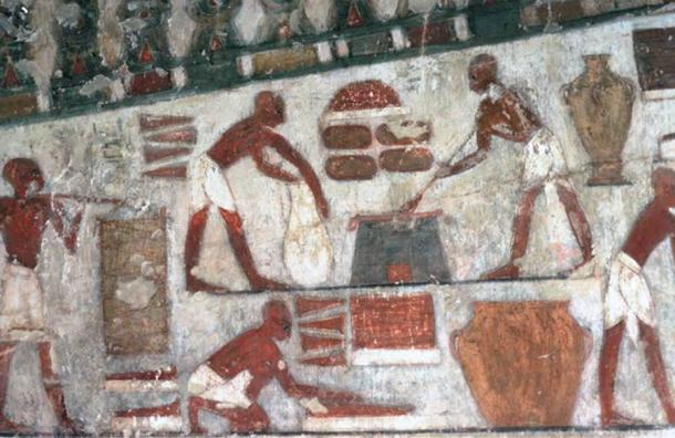 A painted scene from the Theban tomb chapel of the vizier Rekhmire (15th century BC), showing, among other activities, the production of honey cakes from tiger nuts for the treasury of the god Amun.