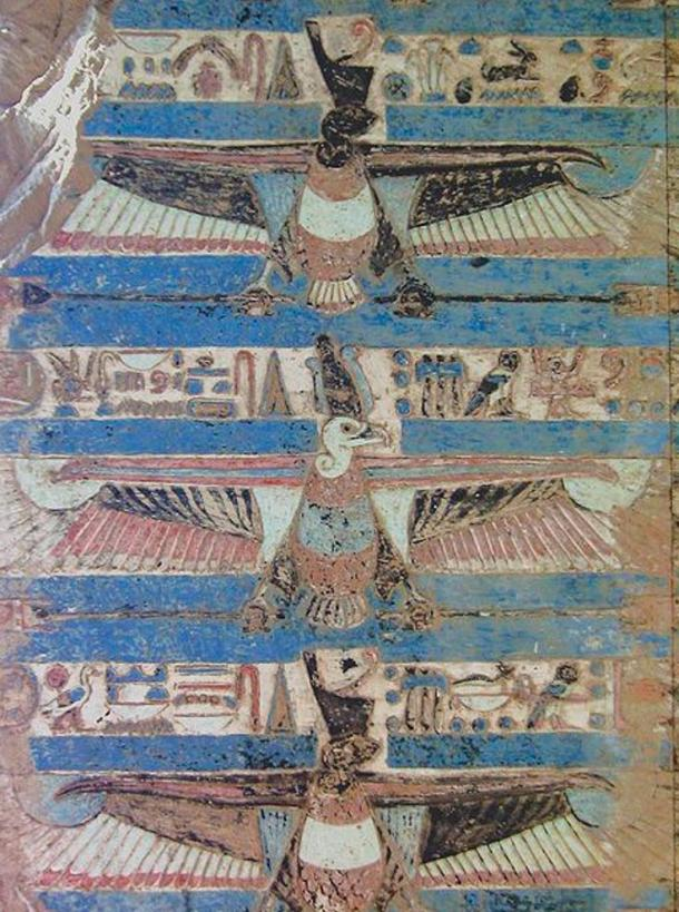A painting from the ceiling of the temple at Kom Ombo