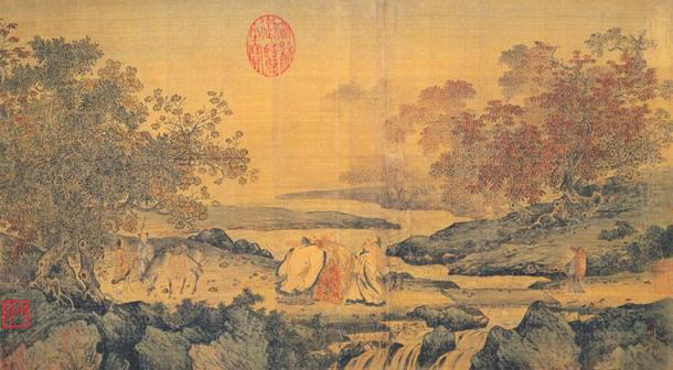 Painting entitled: Three laughing men by the Tiger stream. Depicting Lu Xiujing, Tao Hongjing and Huiyuan (founder of Pure Land). (12th Century)
