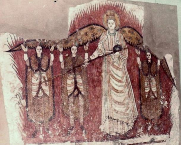 Wall painting from a Nubian church on display at the Khartoum Museum. It depicts the story from Daniel 3 of the three youths thrown into the furnace.