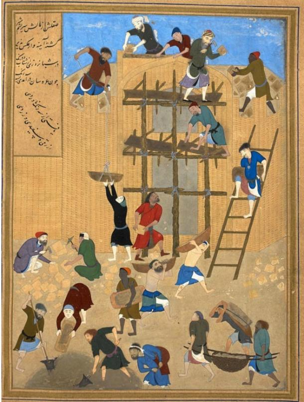 A painting of the mid-1490s by Anchora great artist of the Timurid Renaissance, Kamal-ud-din Bihzad, showing the construction of the fort of Kharnaq