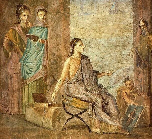 Woman, painting a statue of Priapus. Roman fresco from the Casa del Chirurgo in Pompeii. (Public Domain)