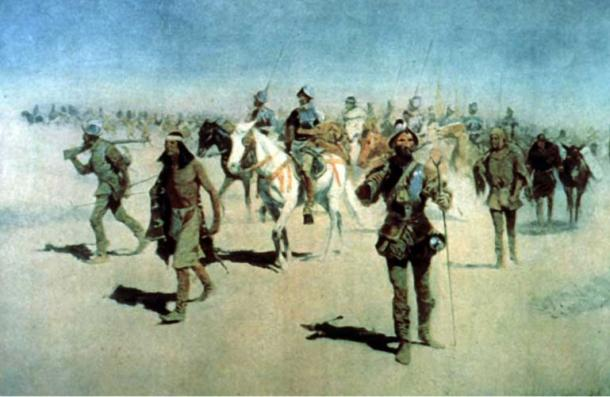 A painting by Frederic Remington of Francisco Vázquez de Coronado and his army on the march to find Cibola.