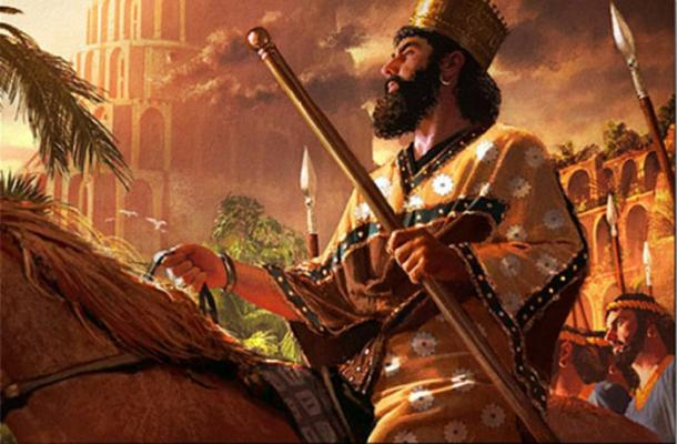 A painting of Cyrus the Great as he enters Babylon