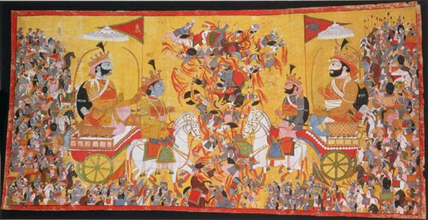 The painting depicts the battle of Kurukshetra of the Mahabharata epic.