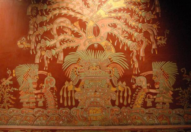 A reproduction of a painting of the great goddess from the ancient Mexican city of Teotihuacan