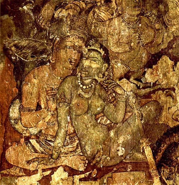 A painting in Ajanta Caves, Maharashtra, India depicting an amorous man and woman.