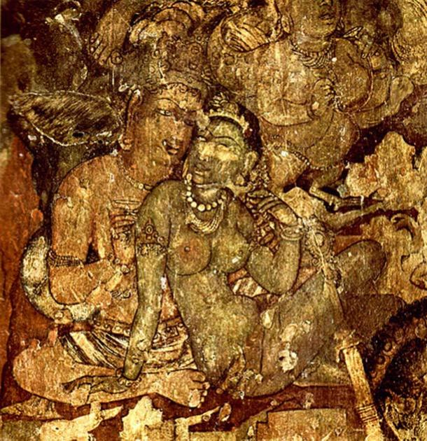 A painting in Ajanta Caves, Maharashtra, India depicting an amorous man and woman.