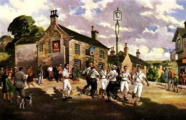 An oil painting of Morris dancers by Joseph Appleyard.