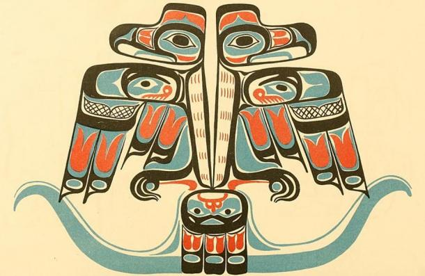 A 19th century Northwest Haida tribe artist's painting of a double Thunderbird.