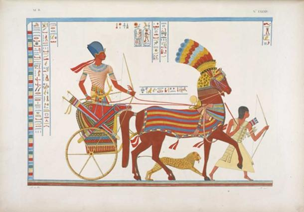 A painting of an ancient Egyptian two-wheeled chariot with a slave and a cheetah afoot; it appears similar to Roman chariots except it has one horse instead of two.