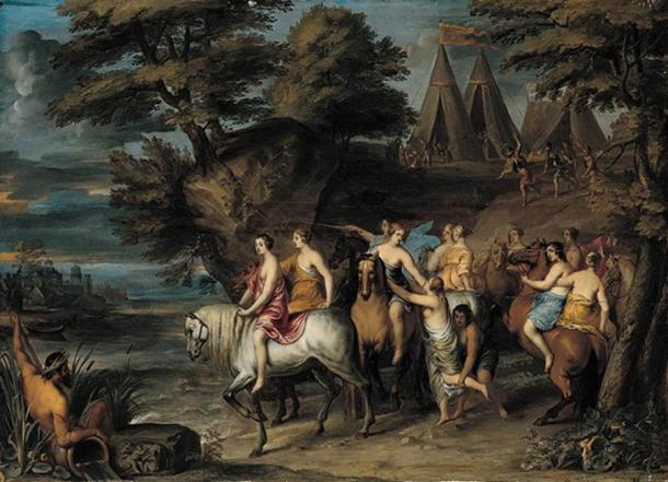 """The painting """"Cloelia and Her Companions Escaping from the Etruscans"""" was done by Frans Wouters in the 17th century."""