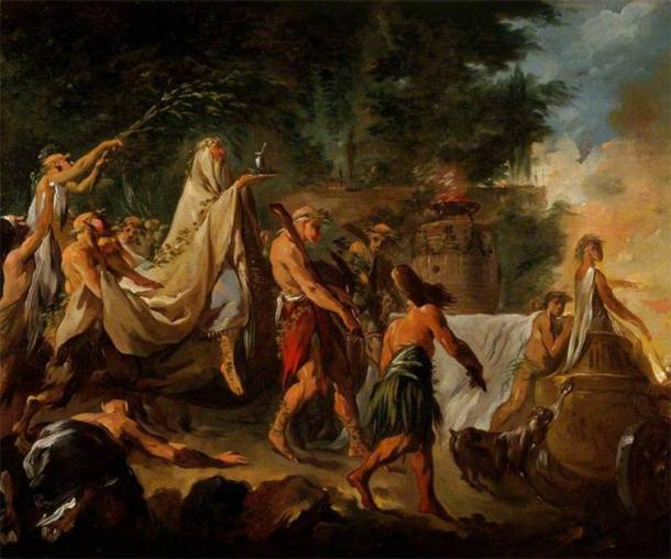 18th century painting of a druid ceremony by Noël Hallé. (Public domain)