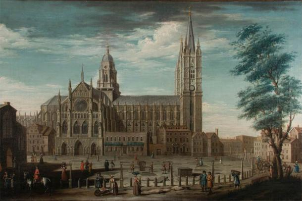 Section of painting of Westminster Abbey by Pietro Fabris, which depicts the Great Sacristy at its center. (Image: Westminster Abbey)