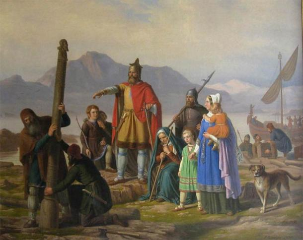 The painting depicts, the first settler of Iceland, newly arrived in Reykjavík. ( Haukurth / Public domain )