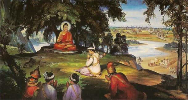 Painting of King Bimbisara offering his kingdom, Magadha, to the Buddha.