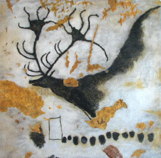 Painting of megaloceros, giant deer, with line of dots in the Lascaux Cave. (Gabriela Ruellan / Public Domain)
