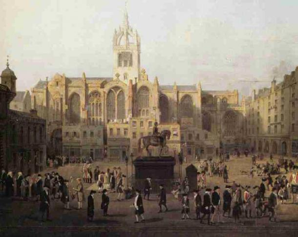 A painting of St. Giles Cathedral with prominent figures in the front. By Sir David Wilkie. (Public Domain)