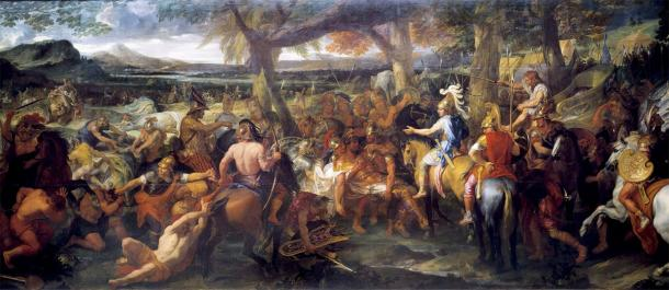 A painting by Charles Le Brun depicting Alexander and Porus (Puru) during the Battle of the Hydaspes, which is an example of ancient Indian warfare. (Charles Le Brun / Public domain)