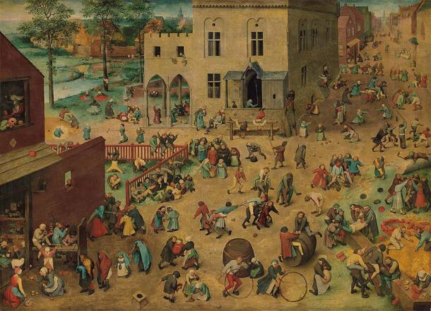 The painting called 'Children's Games' from the 16th century, depicting children playing together during medieval times. (Pieter Bruegel the Elder / Public domain)