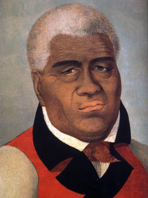 One of the few paintings made of Kamehameha while he was alive, and reportedly his favorite.