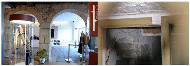 (Left) This pair of arches, common to Castelo Branco can be seen. (Right) An arch in the wall of an abandoned house. (Photos: Tom Hamilton)