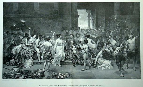 Thais calls upon Alexander the Great to put the palace of Persepolis to the torch