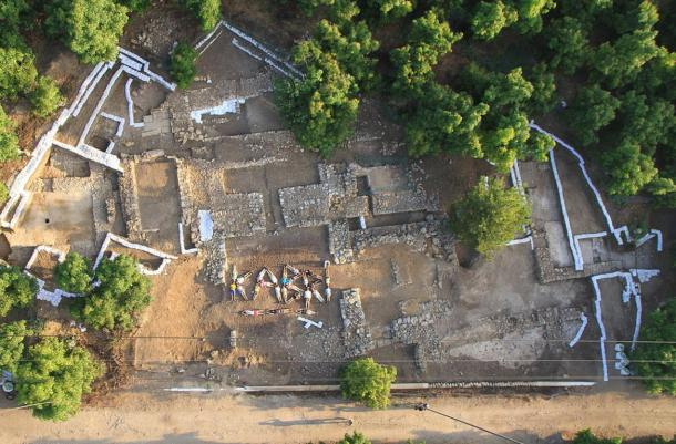 An aerial photograph of the palace of Tel Kabri taken at the conclusion of the 2013 season of excavation