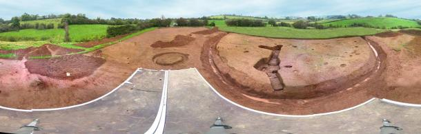 A panoramic view of a souterrain (right of center) contemporary with a ringfort dating to around 700 AD, built within a much earlier barrow cemetery, in County Armagh, Northern Ireland