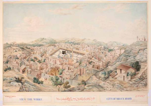"""A panoramic view of Mecca where the Ka'bah was built, and eventually """"saved"""" by two Jewish rabbis. (Khalili Collections / CC BY-SA 4.0)"""
