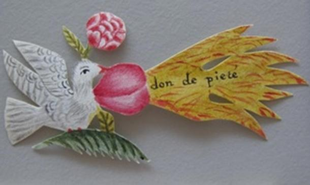 A beautiful paper dove was found in one of the letters.