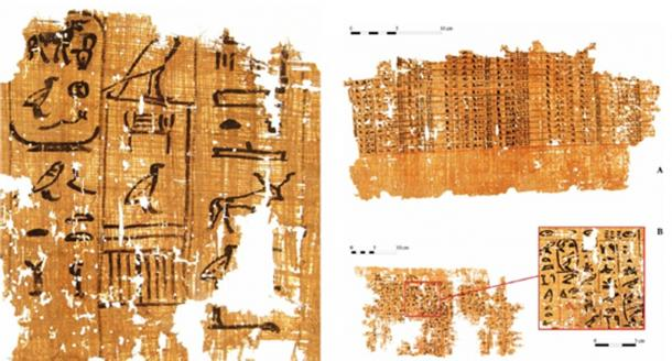 "Left: Part of a papyrus inscribed with an account dating to the reign of Khufu (13th cattle count). (G. Pollin)  Right: Account on a papyrus (A) and a detail of one page of inspector Merer's ""diary"" (B), mentioning the ""Horizon of Khufu."" (G. Pollin)"