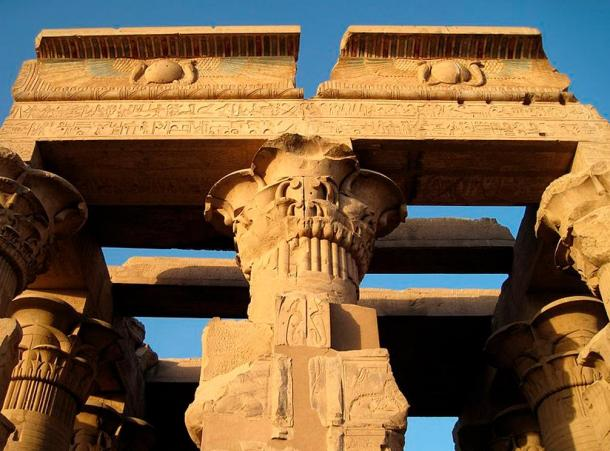 Preserved papyrus shaped column and ceiling at Kom Ombo temple.