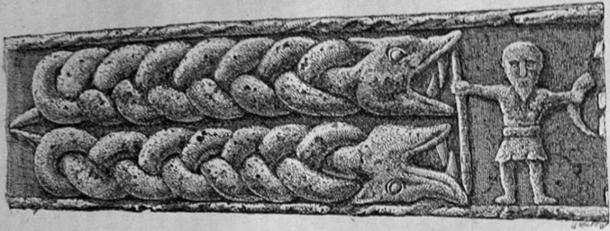 A part of the Gosforth Cross, possibly 10th century, showing a double-monster and a figure with a spear and a horn, believed to be Heimdallr (public domain)