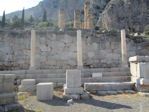 Photograph showing part of the Polygonal Wall found under the Temple of Apollo at Delphi.