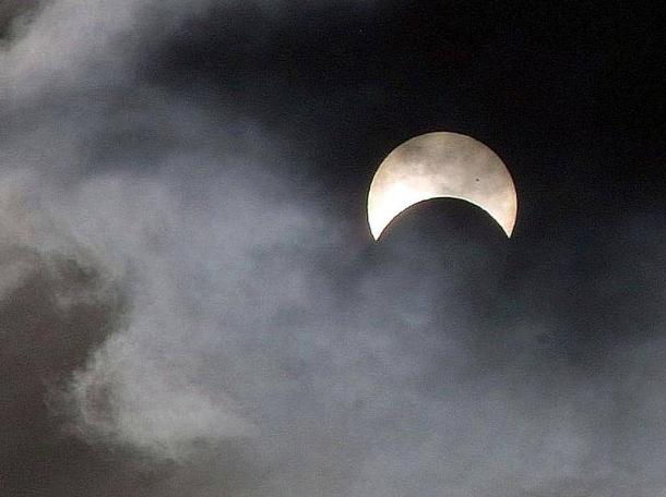 The eerie sight of a partial eclipse of the sun